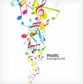 image of music note  - Abstract background with tunes - JPG