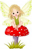 picture of fairy-mushroom  - Baby fairy elf sitting on mushroom - JPG