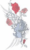 Diseño de fantasía con grifo y rosas