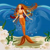 image of fairy-tale  - Gay mermaid under water - JPG