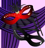 picture of mummer  - against the backdrop of a purple curtain black and red halfmasks decorated with sequins and feathers - JPG