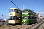 foto of tram  - Trams on the seafront of Blackpool in the north of England - JPG