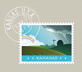 Постер, плакат: Kansas postage stamp design Vector illustration of scenic landscape with grunge postmark on separat