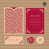 Wedding Invitation Or Greeting Card With Floral Ornament. Paper Lace Envelope Template. Wedding Invi poster