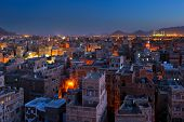 Panorama Of Sanaa At Night