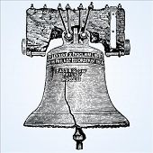 Woodcut style vector illustration of the Liberty Bell. Easy to change colors.