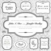 Set of vector ornate frames with sample text. Perfect as invitations or announcements. Background pa
