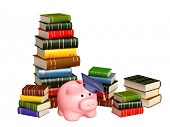 Piggy bank with cap and books. Objects isolated over white