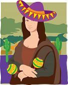 stock photo of mona lisa  - The Mona Lisa dressed in a Sombrero - JPG