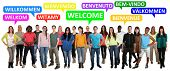Welcome Multi Ethnic Group Of Smiling Young People Saying Refugees poster