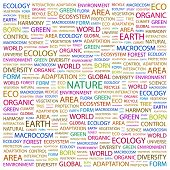 NATURE. Word collage on white background. Vector illustration. Illustration with different association terms.