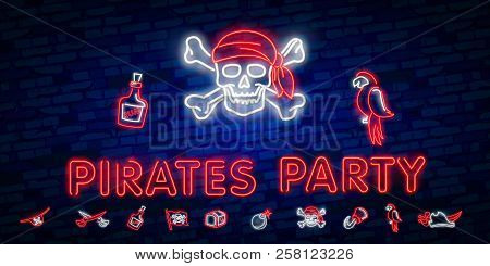 Pirates Party Neon Text Vector