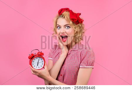 Time Smiling Woman With Alarm