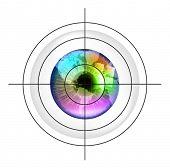 Target on earth globe in multicolor human eye. EPS10 vector illustration.