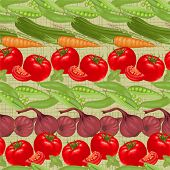 Seamless horizontally background from fresh vegetables