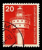 GERMANY-CIRCA 1975:A stamp printed in Germany shows image of The Alte Weser Lighthouse is located offshore from the estuary mouth of the river Weser in the German Bight,  circa 1975.