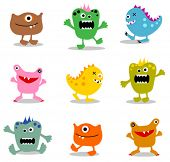 stock photo of monsters  - cute little monsters - JPG
