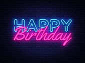 Happy Birthday Neon Sign Vector. Happy Birthday Design Template Neon Sign, Light Banner, Neon Signbo poster