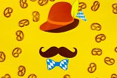 Germany Face Silhouette With Bavarian Brown Hat And Tie Bow, Mustache. Sweet Tasty Snaks Pretzels As poster