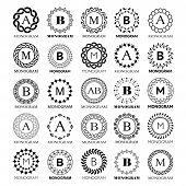 Monogram Vector Template Design - Big Set. Elegant Wedding Or Company Monogram Sign,  Single Letter  poster