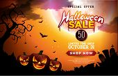 Halloween Sale Banner Illustration With Pumpkins, Moon And Flying Bats On Orange Night Sky Backgroun poster