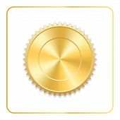 Seal Award Gold Icon. Blank Medal Isolated On White Background. Stamp For Design. Golden Emblem. Sym poster