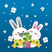 a couple of rabbit in snowy day