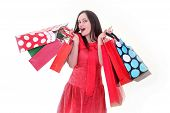 Cheerful Woman With Shopping Bags