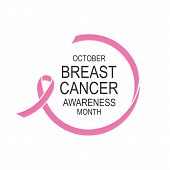 Vector Image Of Breast Cancer Awareness Ribbon.poster Design.october Is Cancer Awareness Month. poster