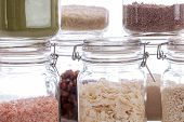 Glass Food Storage Jars. Close-up Of Recipe Ingredients In Kitchen Containers. Airtight Jars With Dr poster