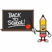 School Pencil With A Back To School Blackboard - A Vector Cartoon Illustration Of A School Pencil Wi poster