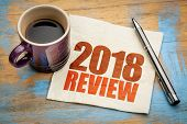 2018 review text on a napkin with a cup of coffee poster
