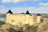 stock photo of hetman  - Khotyn fortress and castle on the bank of Dnister river in Ukraine - JPG