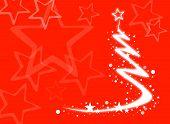 Weihnachtsbaum auf rotem Hintergrund