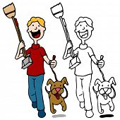 picture of pooper  - An image of a man walking dog holding a pooper scooper - JPG
