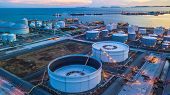 Aerial View Oil Terminal Is Industrial Facility For Storage Of Oil And Petrochemical Products Ready  poster