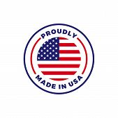 Made In Usa Label Icon With American Flag Seal. Vector Quality Logo Badge For Us Made Certified Prem poster