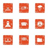 Peaceful People Icons Set. Grunge Set Of 9 Peaceful People Icons For Web Isolated On White Backgroun poster