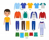 Boy With Clothes. Vector. Baby Clothing. Cartoon Character Paper Doll With Casual Cloths Set Isolate poster