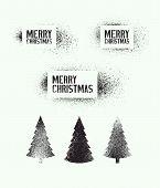 Vector Set Of Typographic Vintage Grunge Stencil Splash Style Christmas Elements. poster