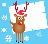 pic of rudolf  - Vector illustration of a card with funny reindeer - JPG