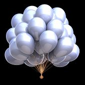 Contrast Party Balloons Bunch Bright White Classic Clean Glossy. Carnival, Holiday Event, Birthday,  poster