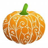 Colored Decorative Pumpkin. Fall Plant With Floral Ornament. Design Element For Happy Thanksgiving A poster