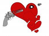 pic of gun shot wound  - A cartoon bullet flying through a wounded heart - JPG
