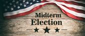 Usa Flag And Midterm Elections, Wooden Background, 3D Illustration poster