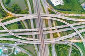 Aerial View Transport City Overpass Road With Vehicle Movement poster