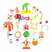 Carnival Icons Set. Cartoon Set Of 25 Carnival Vector Icons For Web Isolated On White Background poster