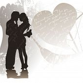 stock photo of kissing couple  - Evening meeting - JPG
