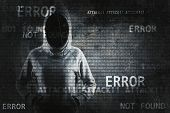 Hacker On Abstract Error Background. Hacking And Phishing Concept. Double Exposure poster