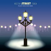 Vector Romantic Evening with Old Street Torch